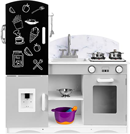 Amazon Com Best Choice Products Wooden Pretend Play Kitchen Toy Set For Kids W Chalkboard Marble Backdrop Realistic Design Sounds 7 Accessories Included Gray Toys Games