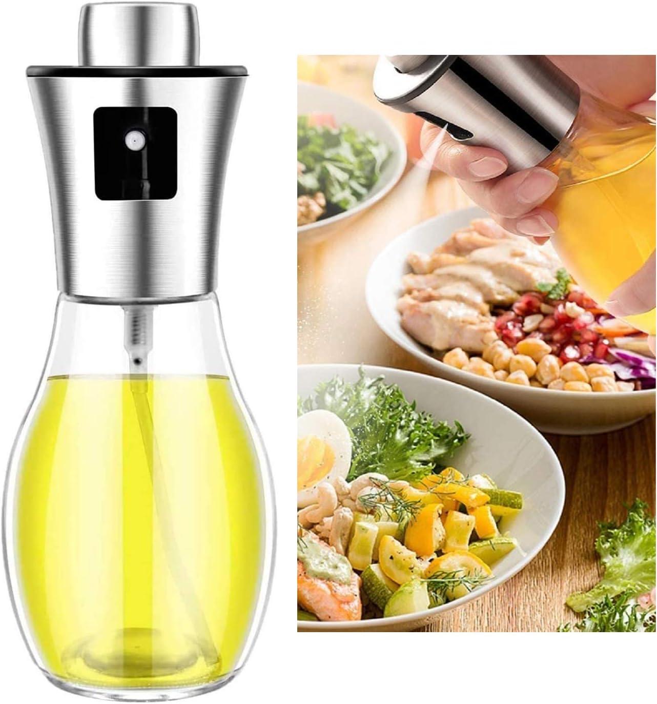 Olive Oil Sprayer Dispenser for cooking, Food-grade Glass Oil Spray Transparent Vinegar Bottle Oil Dispenser 200ml for BBQ/Making Salad/Baking/Roasting/Grilling/Frying Kitchen.