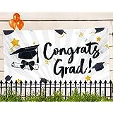 """Graduation Party Banner – Extra Large 71"""" x 40"""" - 2018 Congrats Grad Decorations & Supplies - Graduate Cap Design"""
