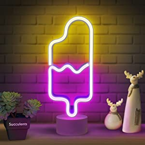 Lumoonosity Popsicle Neon Light - Popsicle Neon Sign for Bedroom, Desktop, Tabletop Decor - Battery/USB Powered Popsicle Lights - Ice Cream Night Light Lamp with Stand- Pink & Warm White Led Signs