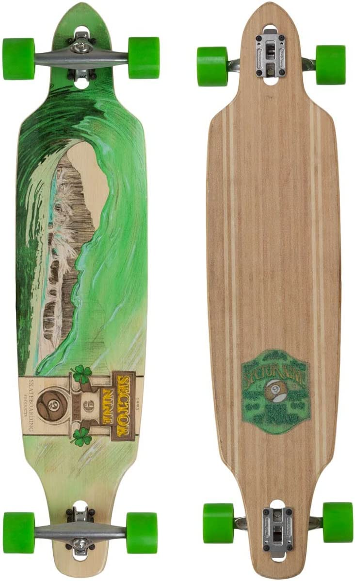 Sector 9 Green Wave Lookout II Drop-Thru Bamboo Complete Downhill Longboard Skateboard – 9.6 x 42