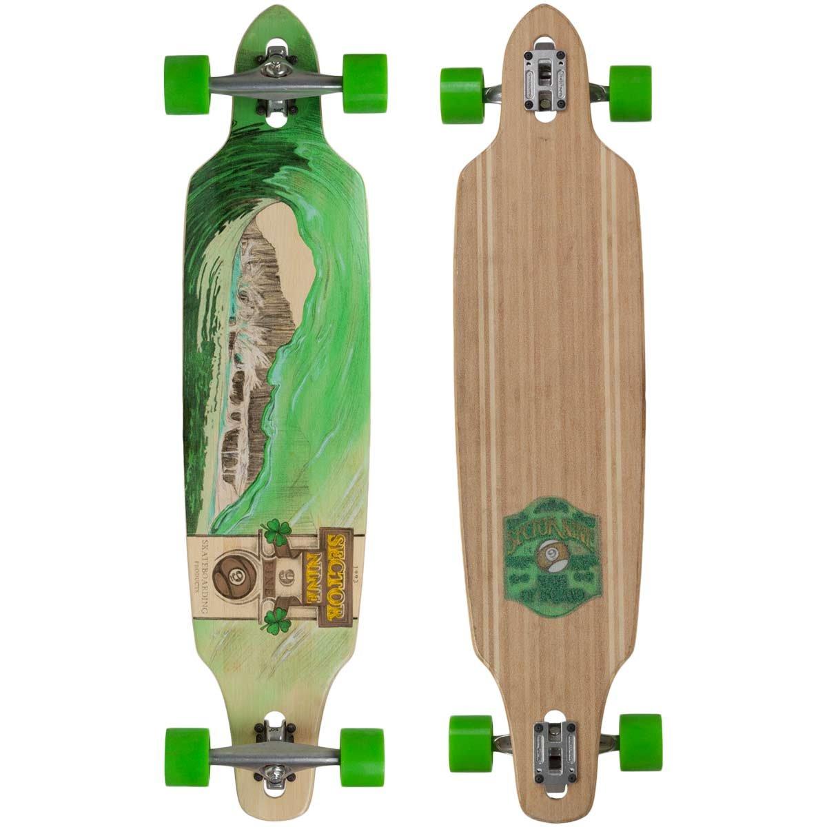 Sector 9 Green Wave Lookout II Drop-Thru Bamboo Complete Downhill Longboard Skateboard - 9.6'' x 42''