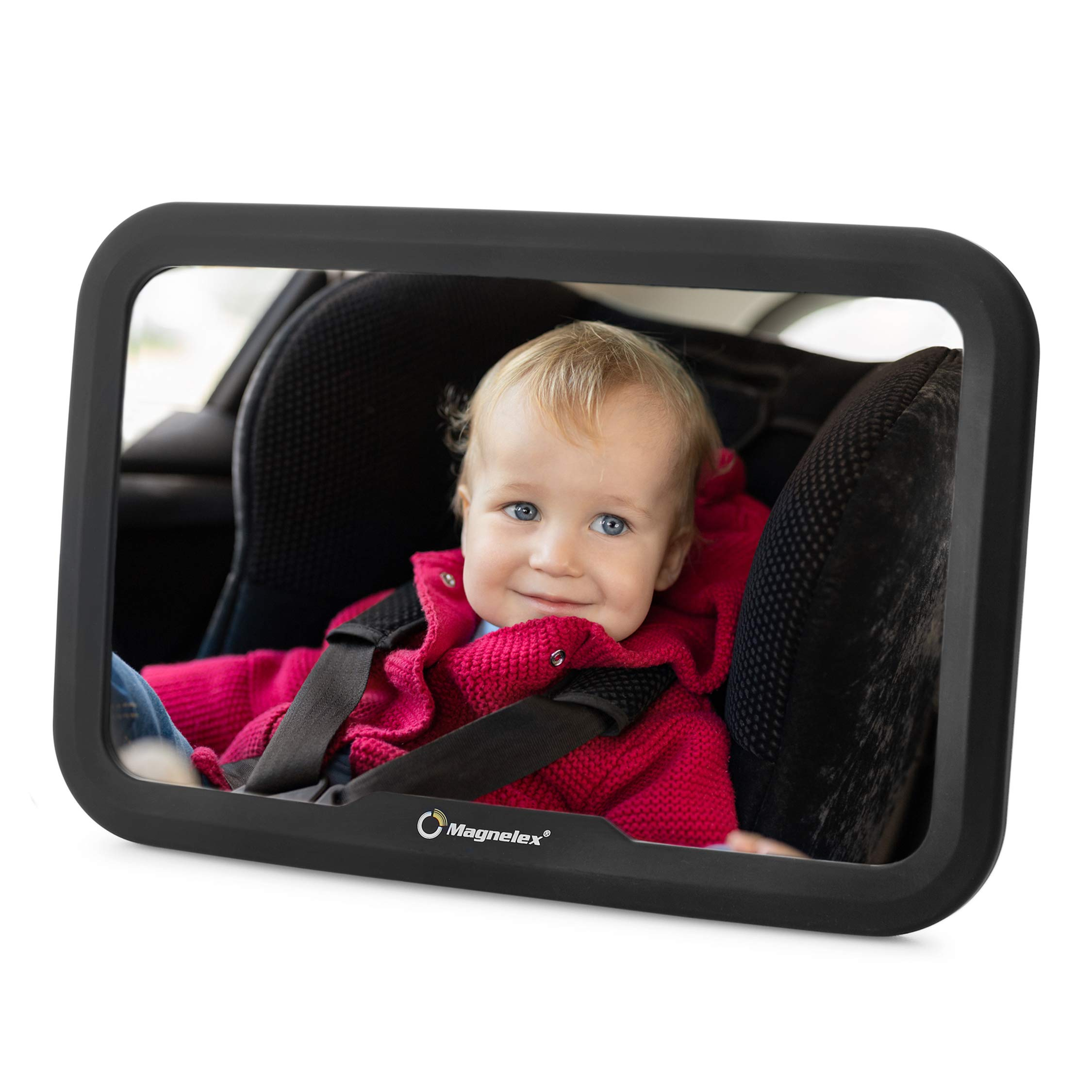 Magnelex Baby Car Mirror for Rear-Facing Infants and Toddlers. Wide Crystal-Clear View Car Seat Mirror, Safe and Shatterproof, Simple Install with No Tools. No Jiggle or Vibration. Excellent Gift Idea by Magnelex