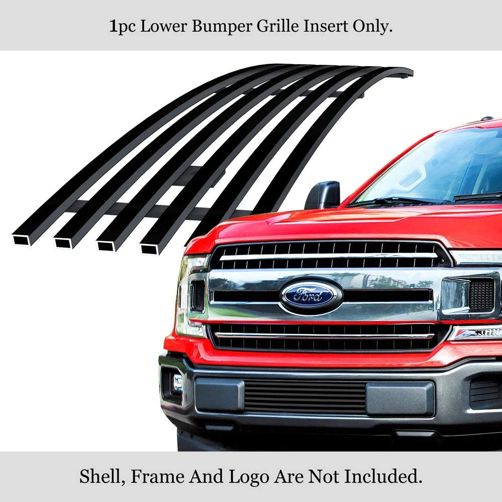 APS Compatible with 2001-2003 Ford F-150 Harley Davidson Lower Bumper Stainless Steel SS Black Horizontal Billet Grille Insert F85385H