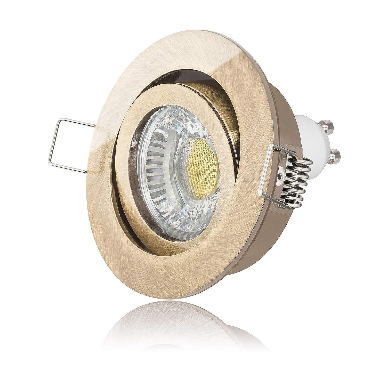 3 x LED Einbaustrahler Set dimmbar inkl. Einbaurahmen 230V 6W GU10 5000k tageslicht-weiß ersetzt 50W Halogen Ra  90