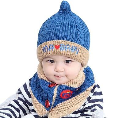 66d23d73534f Bonnet hiver pour Bébé Chapeaux bebe Set de 2 pièces Ensemble Echarpe  Calotte Chapeau Bébé Fille
