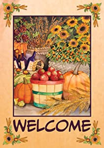 Toland Home Garden Autumn Bounty 12.5 x 18 Inch Decorative Fall Harvest Welcome Double Sided Garden Flag