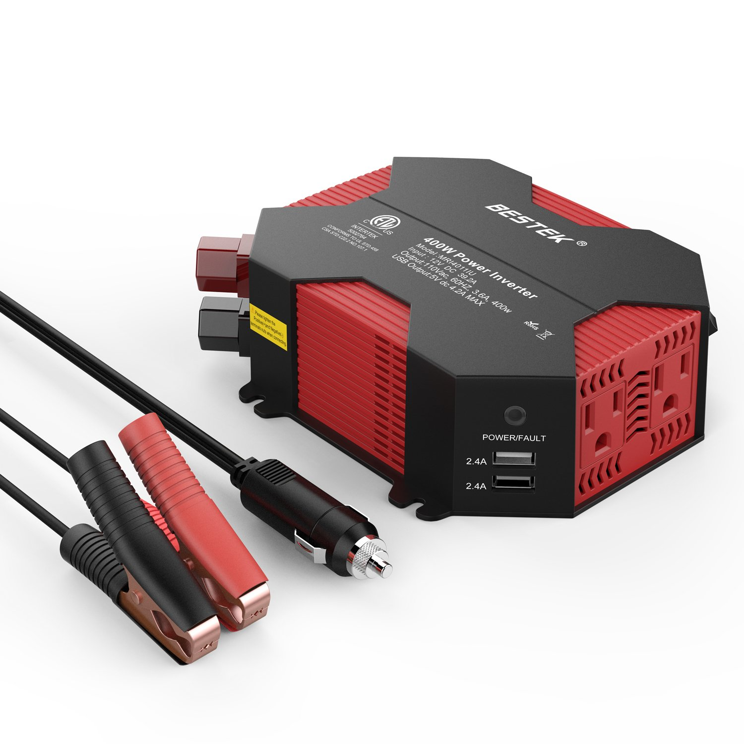 BESTEK 400W Power Inverter DC 12V to AC 110V Car Adapter with 5A 4 USB Charging Ports by BESTEK (Image #1)