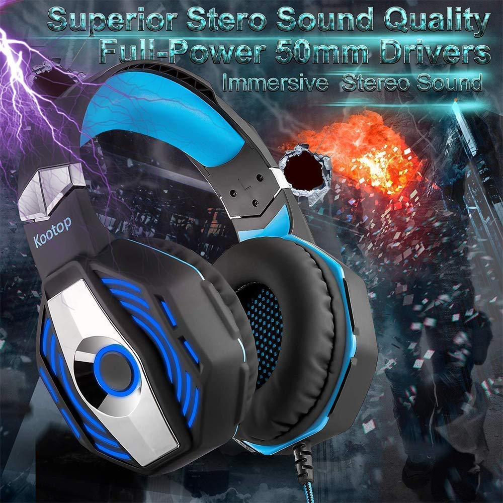 Kootop Stereo Gaming Headset for Xbox one,PS4 PC, Noise Cancelling Over Ear Headphones with Mic,Soft Earmuffs,Bass Surround,LED Light,for Laptop Tablet Phone Black