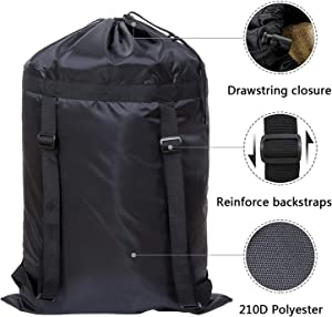 HEPAN Laundry Backpack36.2×23.8in Adjustable Double Shoulder Strap Polyester Beam Mouth Laundry Bag Backpack Laundry Room Portable Ideal Laundry Bag for University, Dormitory and Apartment Residents