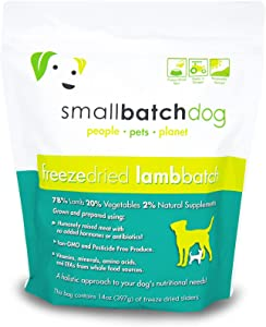 Smallbatch Pets Freeze-Dried Premium Raw Food Diet for Dogs, Lamb Recipe, 14 oz, Made in The USA, Organic Produce, Humanely Raised Meat, Hydrate and Serve Patties, Single Source Protein, Healthy