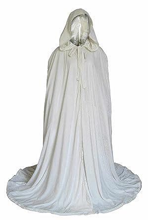 White Velvet Halloween Hooded Cloak Medieval Long Cape Robe Cosplay (White, 6XL)