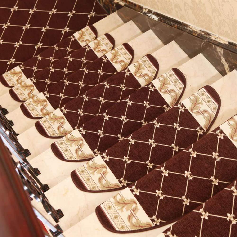Insun Marchettes descalier Semi Circulaire Tapis de Marche Antid/érapant Lavable Motif Oriental Vintage Renaissance caf/é 1 24x65cm Set de 1