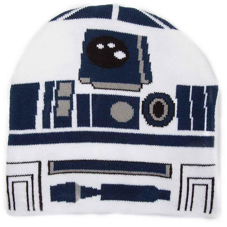 fd68055257b Amazon.com  Star Wars Beanie Hat R2d2 Robot Last Jedi Official White   Clothing