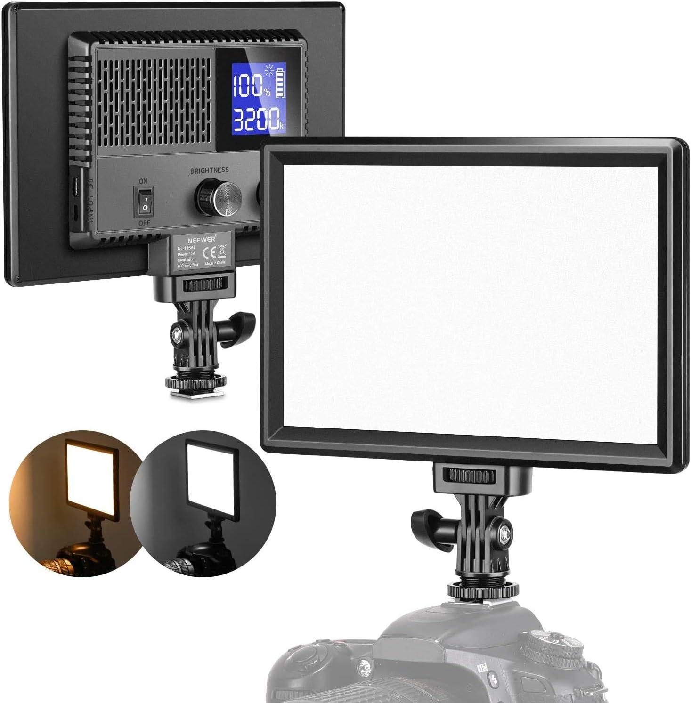 Neewer Luz de Vídeo LED Batería Recargable Incorporada Luz de Cámara Regulable 3200K-5600K CRI 95+ con Pantalla LCD Diseño de Energía Dual Iluminación Suave para Fotografía de Bebés Youtube(SL-116AI)