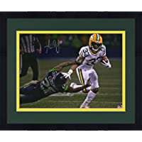 """$154 » Framed Aaron Jones Green Bay Packers Autographed 11"""" x 14"""" Stiff Arm White Jersey Photograph - Fanatics Authentic Certified"""
