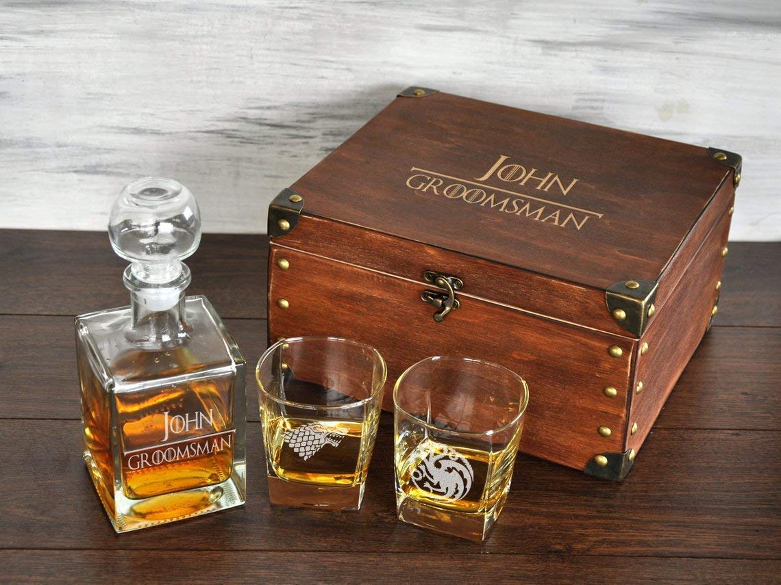 Game of Thrones Groomsmen Gift Box Personalized Whiskey Decanter & Glasses Set Etched Whiskey Decanter Set Wedding Gift for Groom Gift for Best Man GOT Gift ...