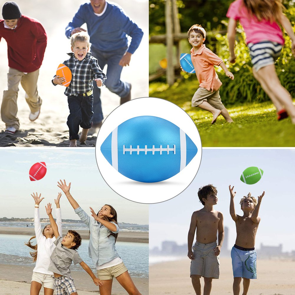 """YAPA Football for Toddlers Mini Cute American Footballs Handheld Kids Toy,Bouncy and Soft 7.5""""Inflate Beach Ball Come Deflate(Blue)"""