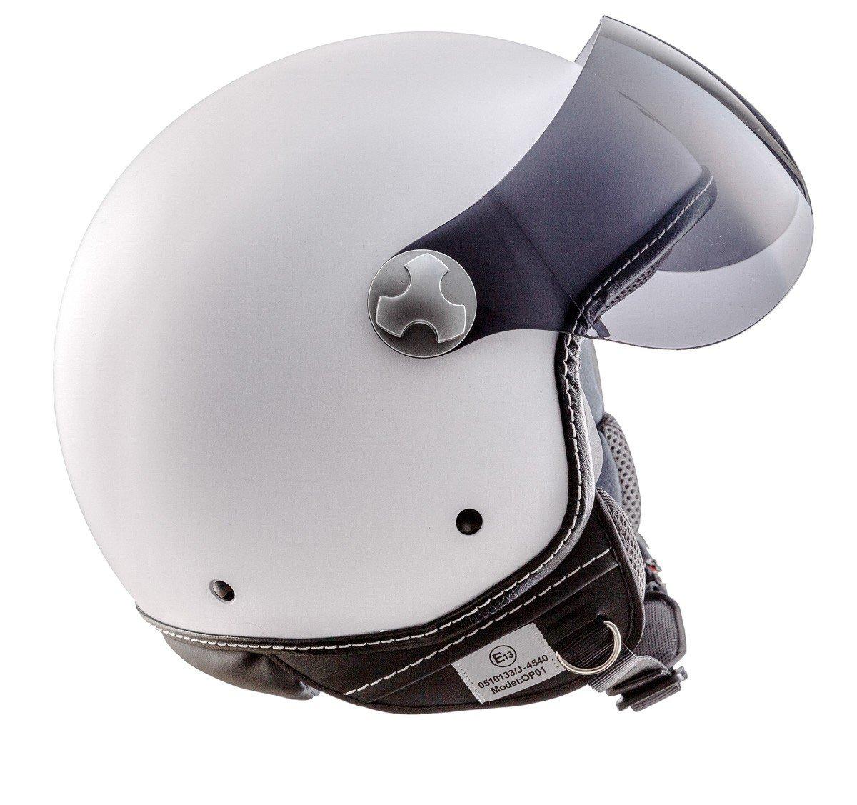 """red Armor /· AV-84 /""""Vintage Deluxe Red/"""" /· Casco Demi Jet /· Piloto Urbano Scooter Helmet Motocicletta Moto /· ECE certificato /· Visor /· Click-n-Secure/™ Clip /· Borsa per il trasporto /·"""