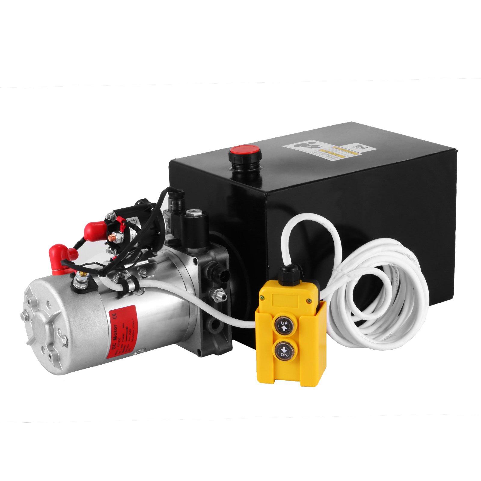 Mophorn 12 Quart Single Acting Hydraulic Pump 12V Hydraulic Power Unit with Steel Reservoir for Dump Trailer Truck Car Lift Unit