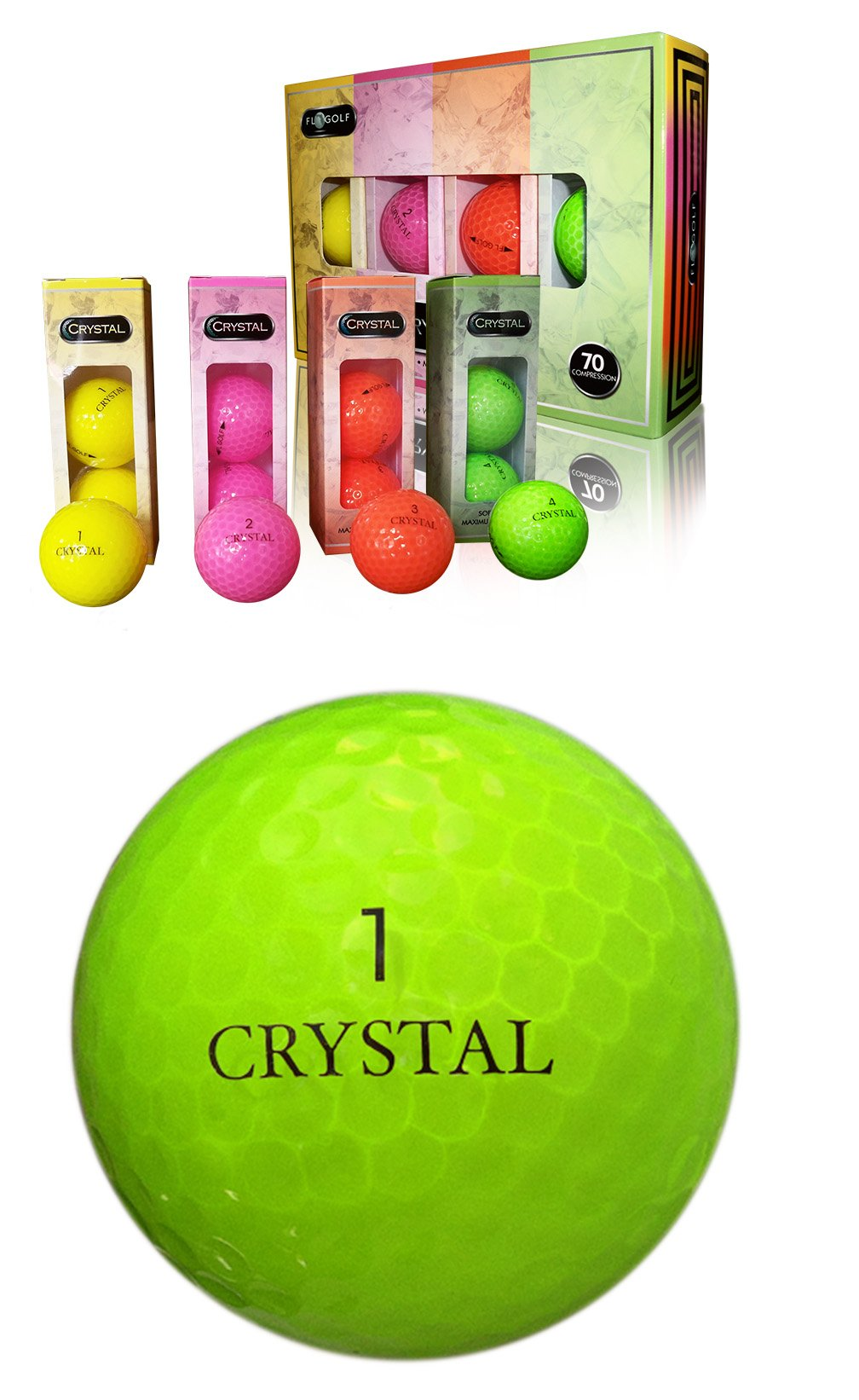 Crystal Golf BallsRainbow 1 Dozen by Crystal by Fl Golf, Inc
