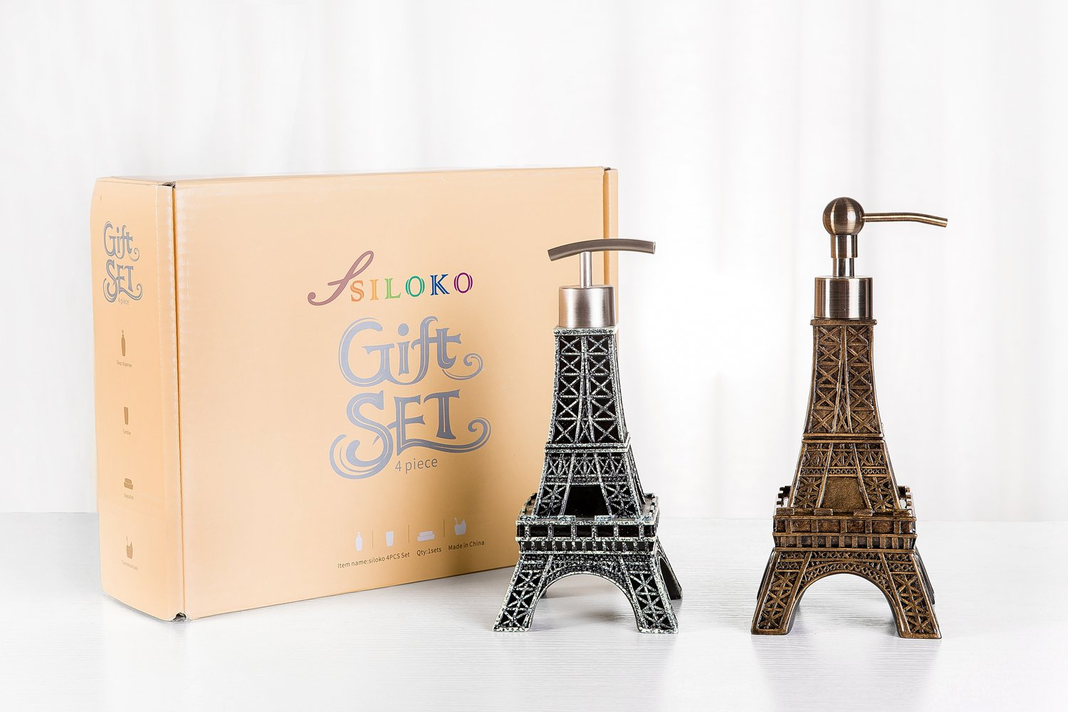 SILOKO 3D Eiffel Tower Metal Pump Soap Dispenser for Kitchen or Bathroom Bronze by SILOKO (Image #5)