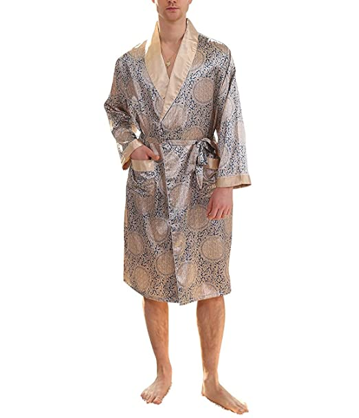 best authentic rich and magnificent amazing price YIMANIE Mens Silk Satin Robe Lightweight Spa Bathrobe with Shorts Nightgown  Long Sleeve House Kimono Luxurious Bathrobe Set