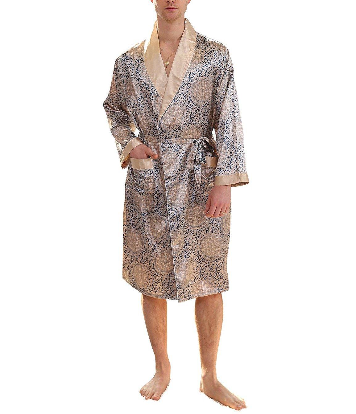 YIMANIE Men's Silk Satin Robe Luxurious Spa Long Sleeve House Kimono Nightwear Bathrobe,Blue Gold,2XL
