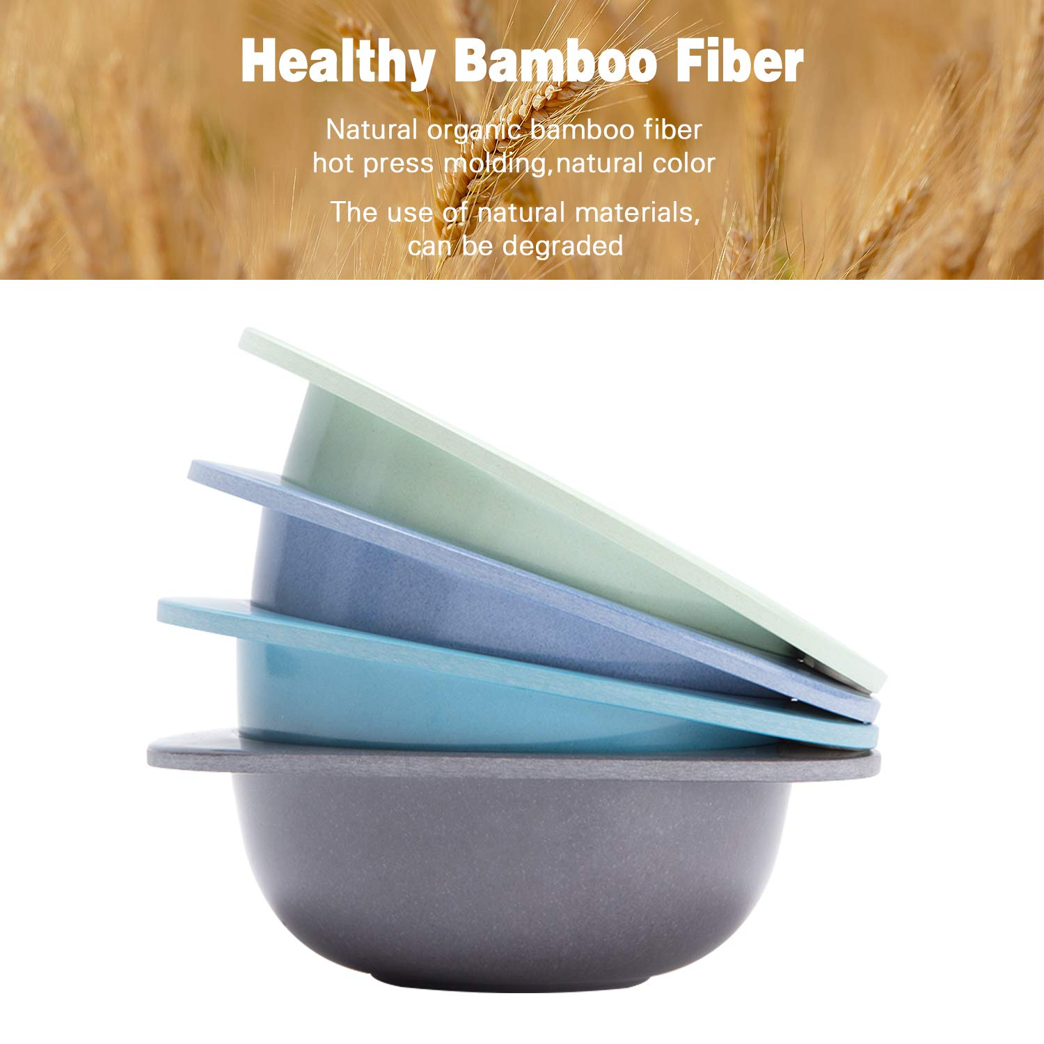 4pcs Bamboo Kids Bowls for Baby Feeding, Non Toxic & Safe Toddler Snack Bowls, Eco-Friendly Tableware for Baby Toddler Kids Bamboo Toddler Dishes & Dinnerware Sets by HM-tech