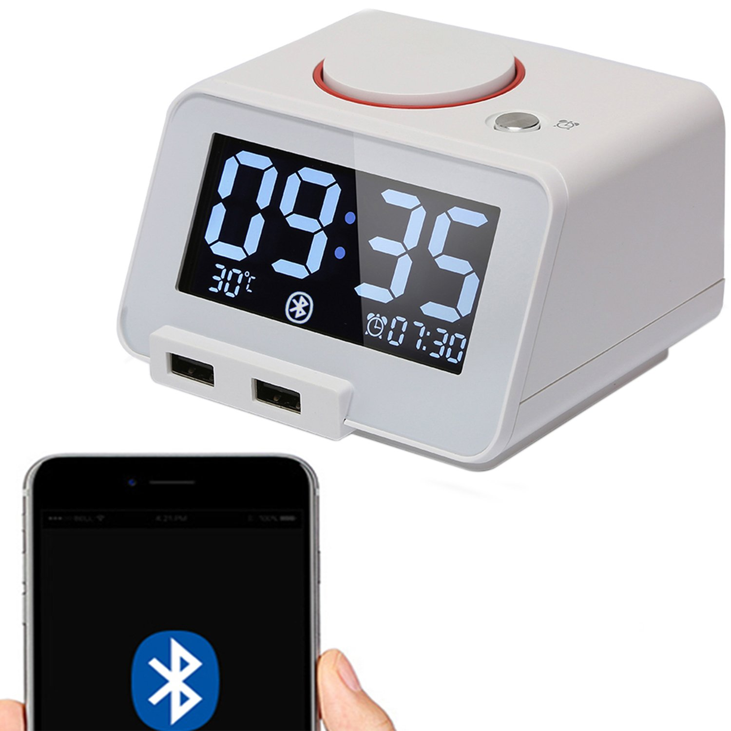 Homtime Bluetooth Speaker Digital Alarm Clock Charger with Dual USB Charging Ports,Indoor Temperrature,Dimmable LCD Larger Display and Snooze for Bedroom or Hotel[Upgraded Version](White)