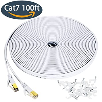 Cat 7 Ethernet Cable 100 Ft, Wireless Outdoor Networking Patch Cable With  Clips,Supports