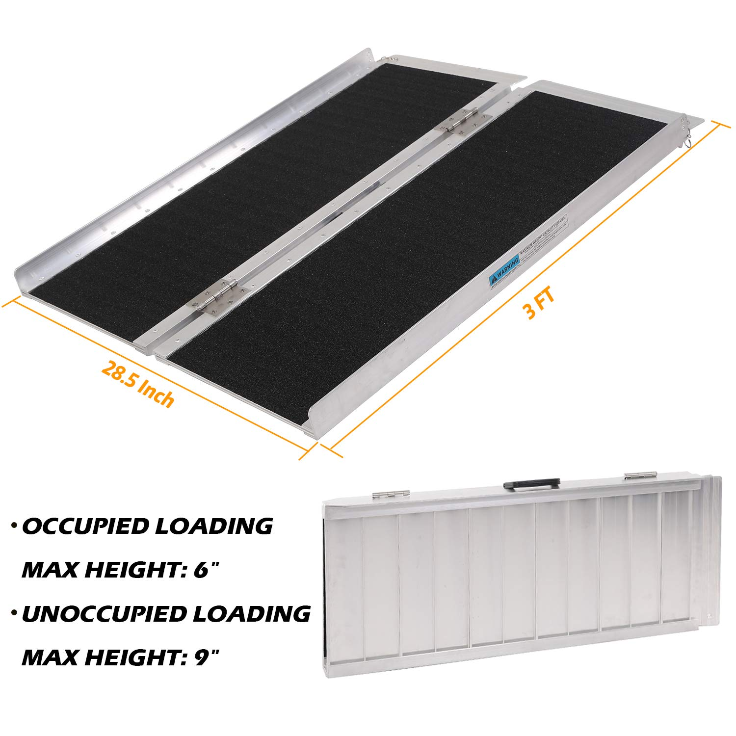Portable Aluminum Wheelchair Ramp Foldable Separated Mobility Scooter Traction Ramp with Carrying Handle 3 Feet by Hromee (Image #5)