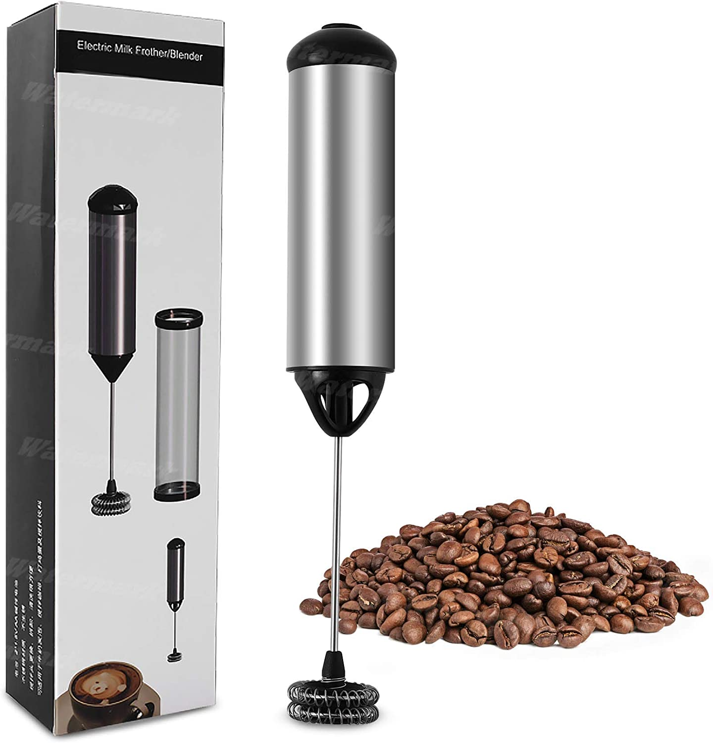 GREATONE Electric Milk Frothers Handheld Foam Beater Milk Frother Battery Operated Mini Smoothie Blender For whipping cappuccino latte milk matcha hot chocolate Silver/Black