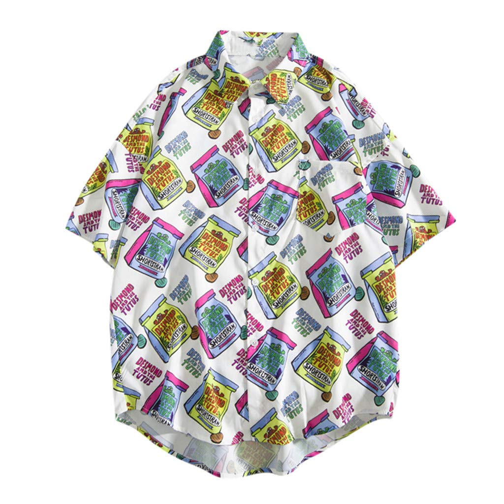 Men Boy Shirts,RNTOP Colorful Graffiti Shirt Casual Button Down Short Sleeve Beach Shirt Men Aloha Pocket