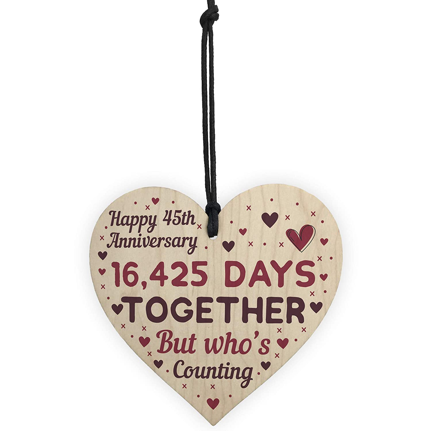 RED OCEAN Handmade Wooden Heart Plaque Gift To Celebrate 1st Wedding Anniversary Husband Wife Someone Special Keepsake 1 Year