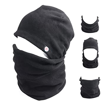 TRIWONDER Balaclava Hood Hat Thermal Fleece Face Mask Neck Warmer Full Face  Cover Cap Winter Ski Mask (Black - New Version)  Amazon.ca  Sports    Outdoors 1550467377f7