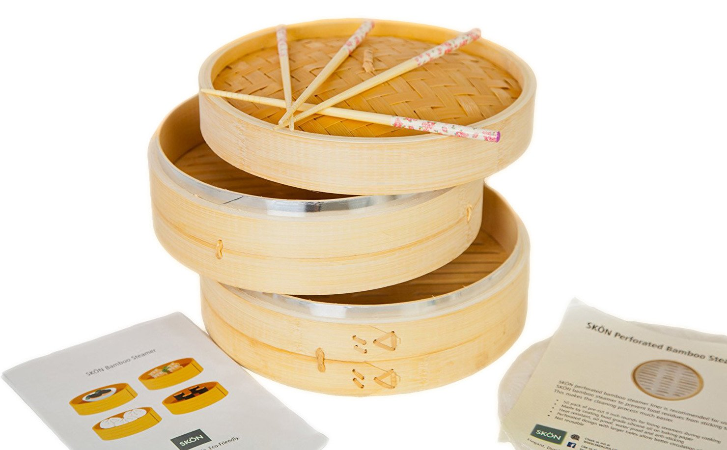 New Updated with Steel Rings! SKÖN Premium Bamboo Steamer + 2 pairs of Reusable Chopsticks + 50 pcs Perforated Liners, Silicone Coated by SKÖN (Image #7)