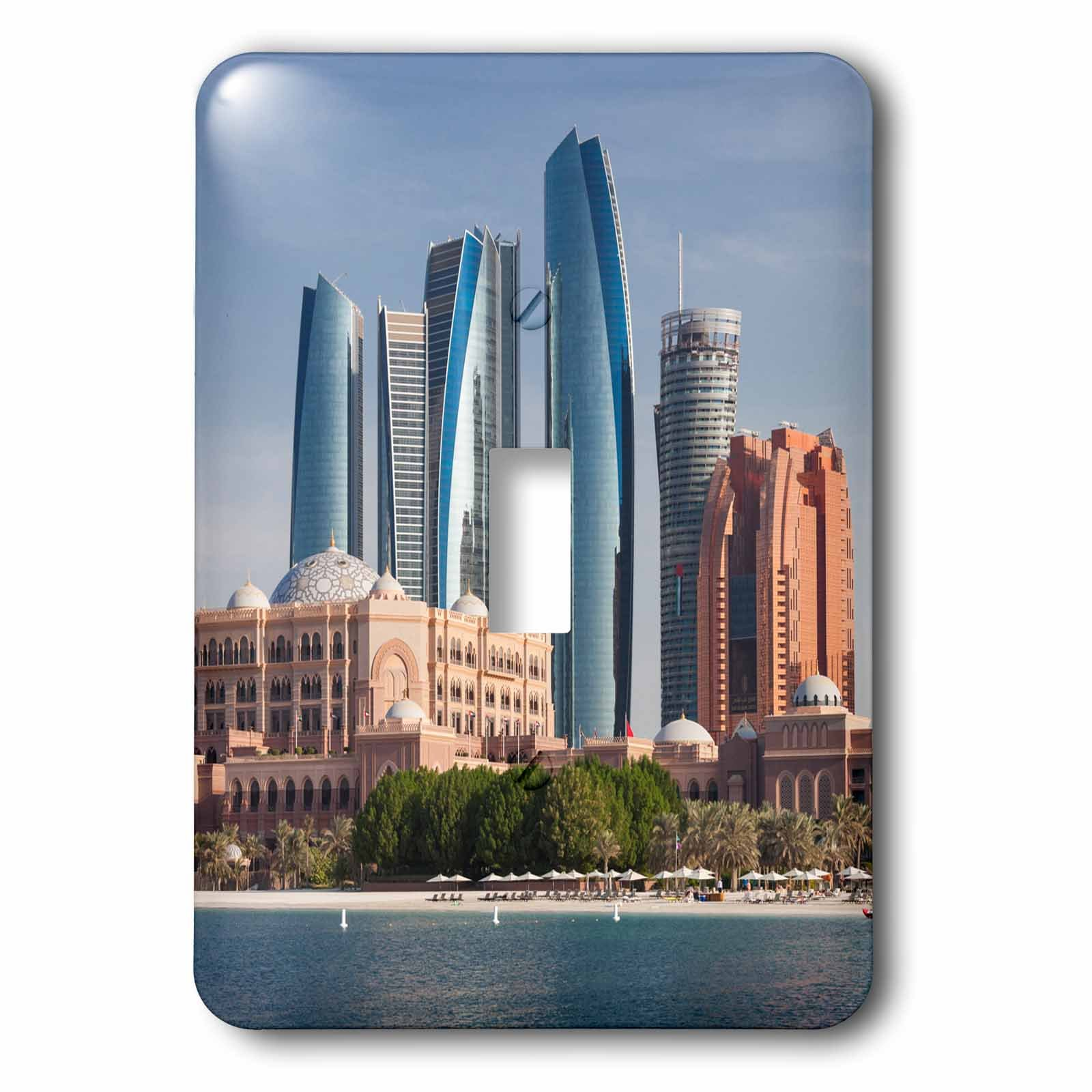 3dRose Danita Delimont - Cities - UAE, Abu Dhabi. Etihad Towers and Emirates Palace Hotel - Light Switch Covers - single toggle switch (lsp_277131_1)