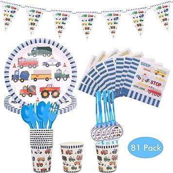 Amycute 81 pcs Set de vajilla de Fiesta de cumpleaños Infantil ...