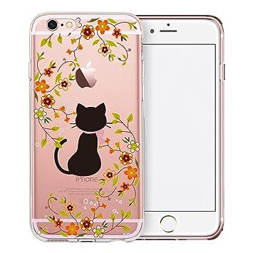 Funda iPhone 6S, TrendyBox Cute Transparente Funda para iPhone 6 6S (Gato y Flores Amarillas)