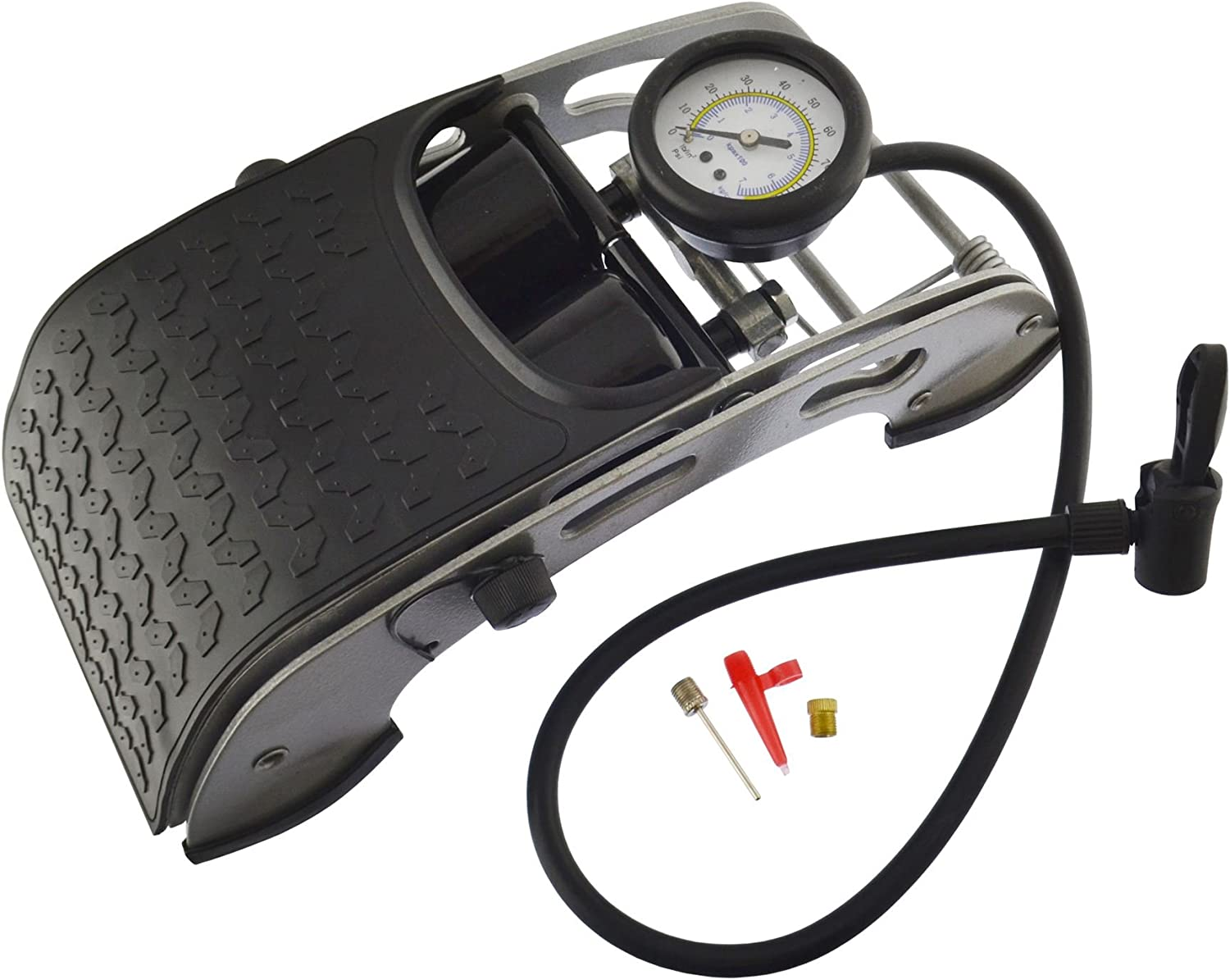 Motorcycle Wheel Tyre Tire Portable Foot Pedal Inflator Tool Air Pump With Gauge