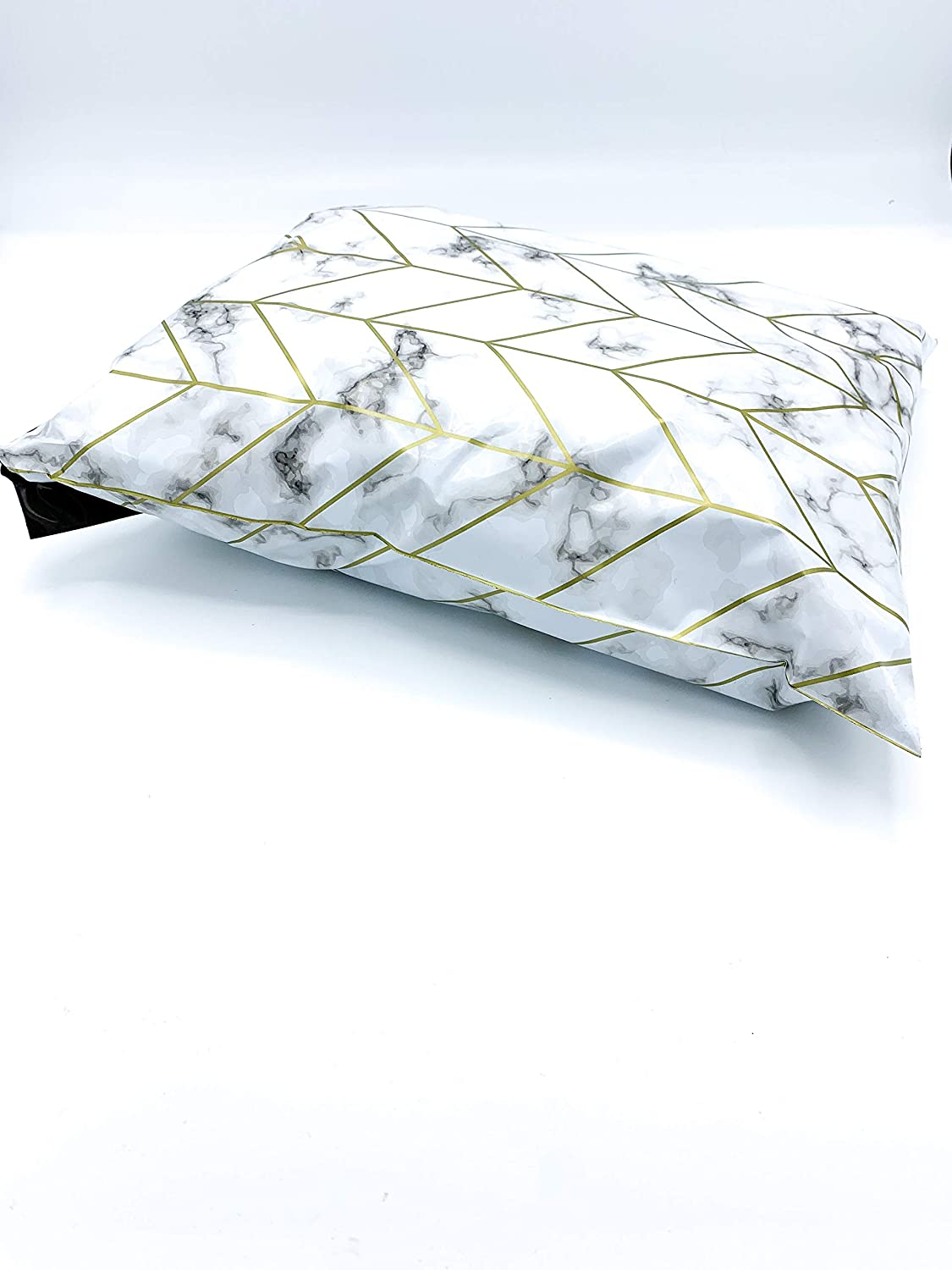 N//A 100 Piece Self Sealing Black Marble Gold Chevron Poly Mailers 10 x 13