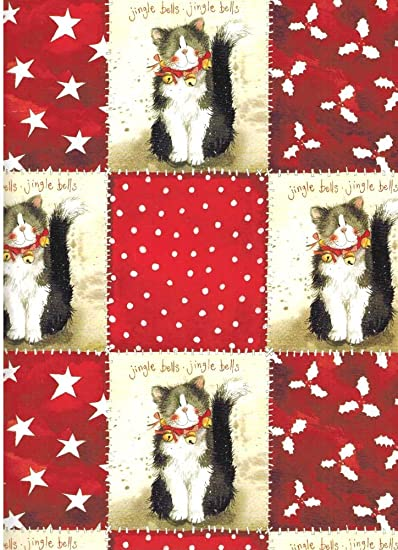alex clark art christmas cats rolled gift wrap paper jingle bells - How To Wrap A Cat For Christmas