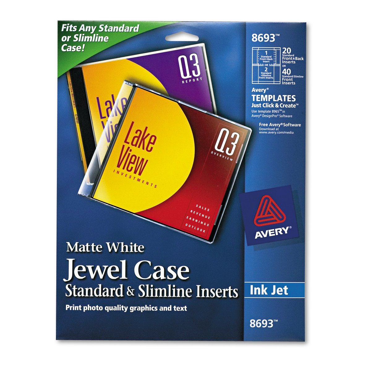 Amazon Avery Cddvd Jewel Case Inserts For Ink Jet Printers