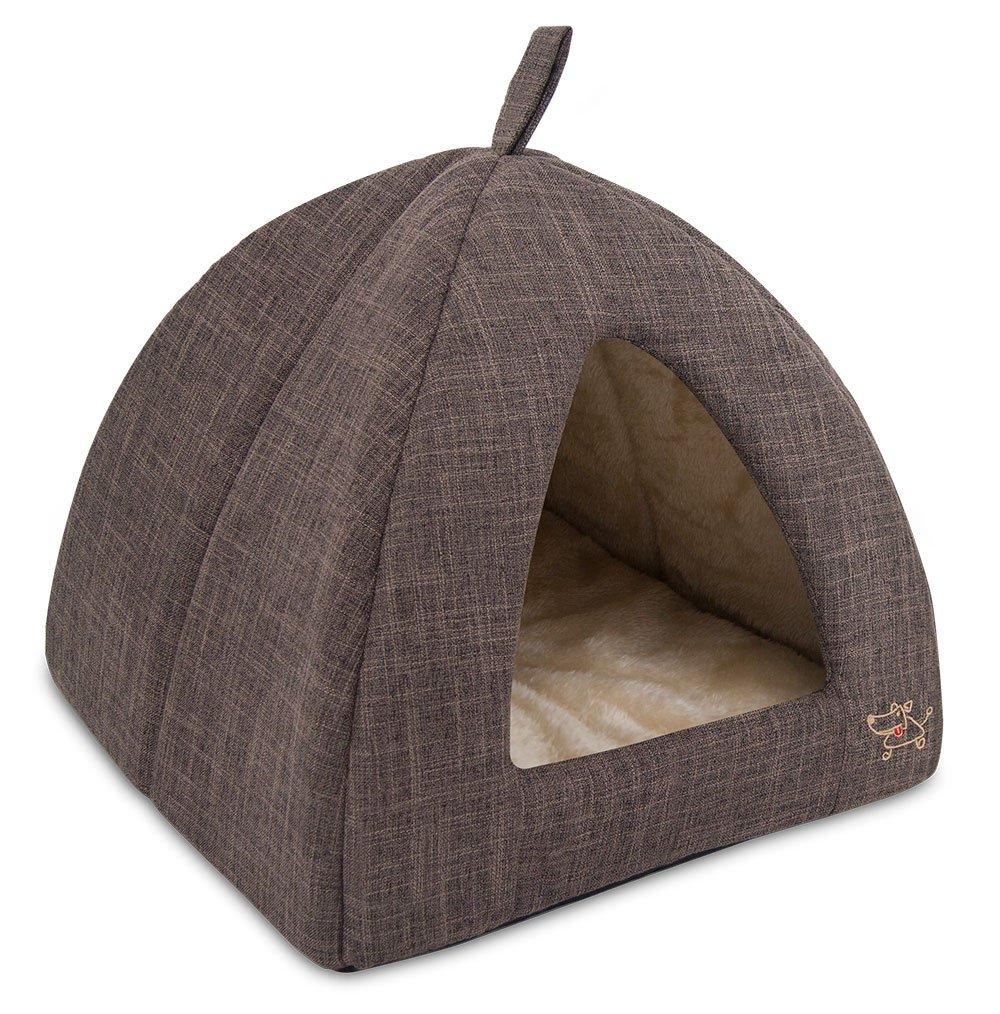 Brown Linen Medium Brown Linen Medium Best Pet Supplies Pet Tent-Soft Bed for Dog and Cat by Best Pet Supplies, Medium, Brown Linen
