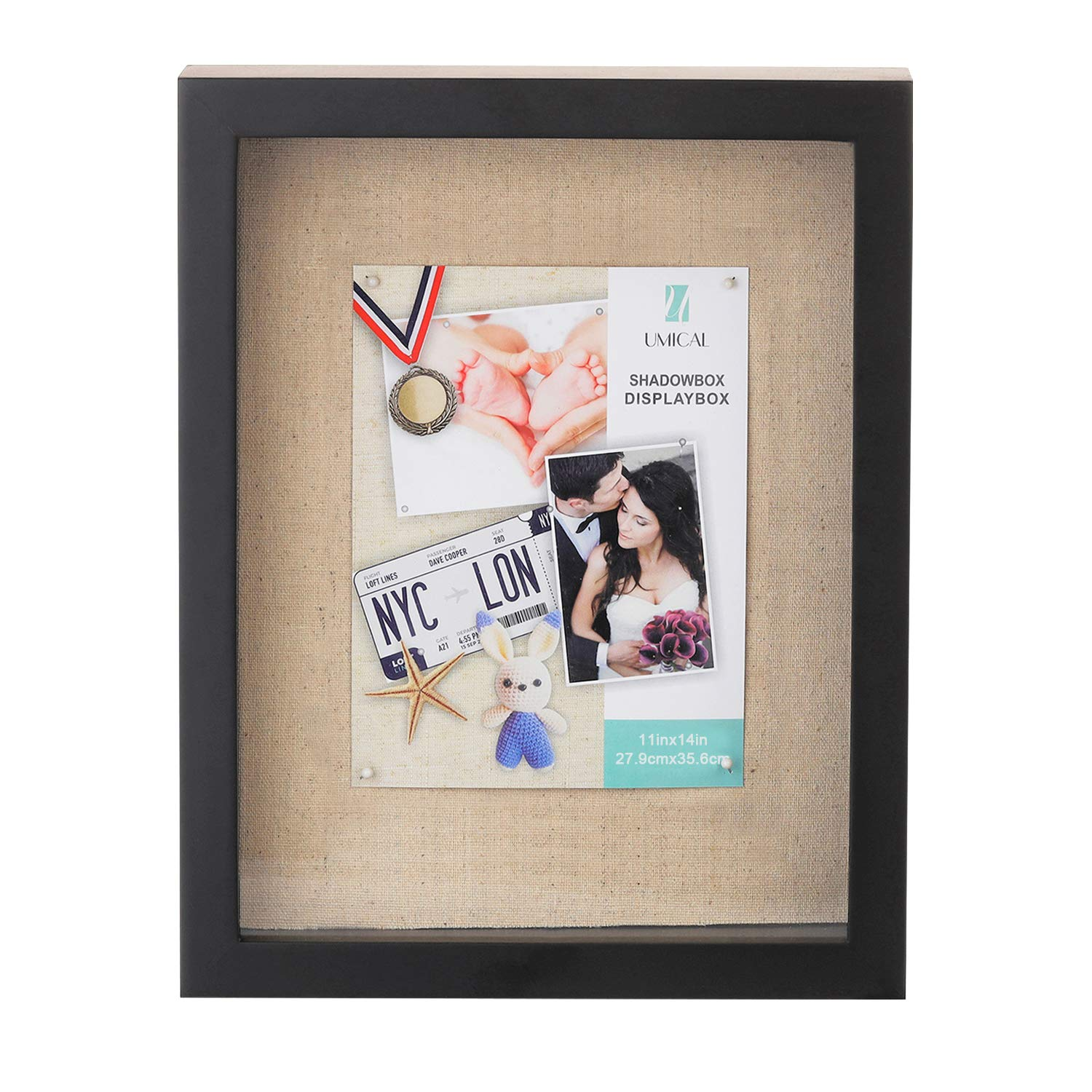 UMICAL 11x14 Shadow Box Display Case - Deep Shadowbox Picture Frame with Linen Board - 3D Showcase Keepsake Art Graduation Baby Wedding - Wall Hanging & Free Standing by UMICAL