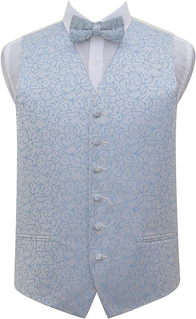 DQT Woven Swirl Patterned Burgundy Mens Wedding Waistcoat /& Bow Tie Set