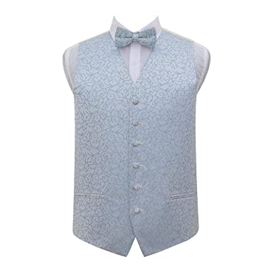 07d4576fa1570 DQT Premium Woven Microfibre Swirl Patterned Baby Blue Men's Wedding Tuxedo  Waistcoat with Matching Pre-