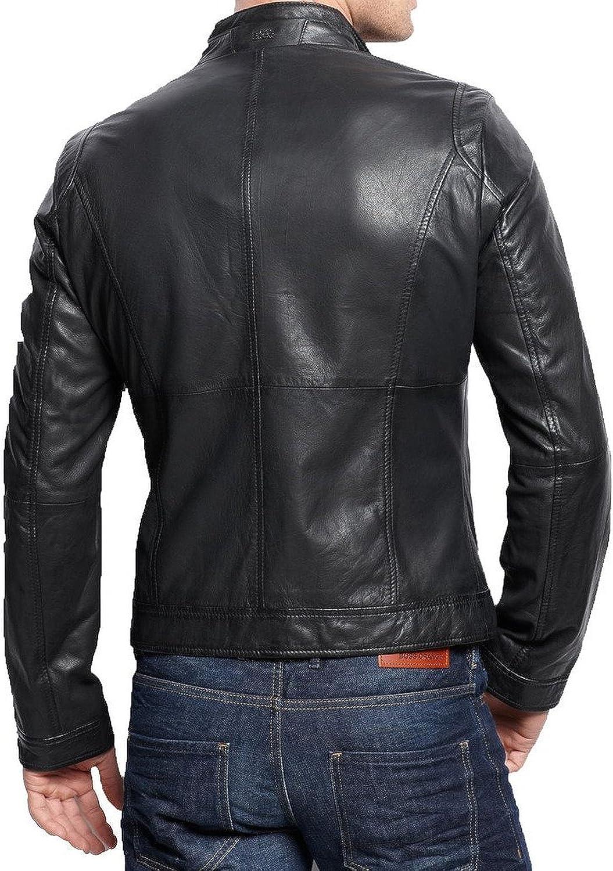 Kingdom Leather New Mens Leather Jacket Black Slim Fit Biker Motorcycle Genuine Leather Coat XC593