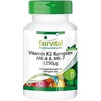 Complexe de Vitamine K2 MK-4 & MK-7 1250µg - 120 gélules véganes - hautement dosé - Vitamine K2 stimule une circulation sanguine saine et le maintien des os